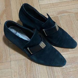 Bocci italian sude heels. Leather strap size 34.5